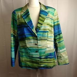 "Escada blue green ""Odyssey"" cotton blazer 16"